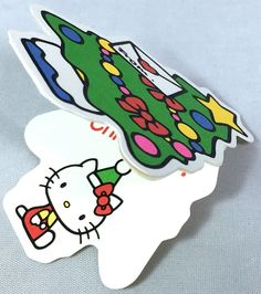VTG SANRIO ❤︎ HELLO KITTY CHRISTMAS TREE CARD/TAG ❤︎ VERY RARE KAWAII (1976)