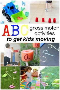 Practice the ABCs as you get kids moving with these gross motor alphabet activities. Perfect for active preschool and kindergarten learners! Learning Letters, Preschool Learning, Kindergarten Activities, Fun Learning, Learning Activities, Preschool Activities, Physical Activities, Alphabet Games For Kindergarten, Outdoor Activities