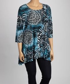 Look what I found on #zulily! Blue Paisley Sidetail Scoop Neck Top - Plus #zulilyfinds