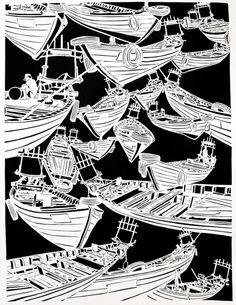 Lauren Iida, 'Adrift', papercut. Collaborated with Bradley taylor who showed at Joe Bar, March 2017