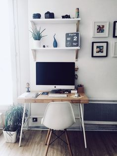 IMac with Ikea style Bedroom Workspace, Ikea Bedroom, Bedroom Inspo, Office Wall Decor, Office Walls, Room Decor, Cozy Home Office, Home Office Design, Cozy House