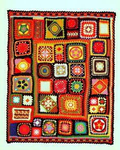 INSTANT DOWNLOAD PDF CROCHET PATTERN FOR GRANNY SQUARE SAMPLER AFGHAN    This vintage 1970s US crochet pattern for a beautiful sampler afghan