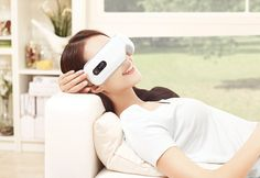 The Wireless Eye Massager with Soothing Sounds uses a combination of intelligent air pressure, vibration massage, point massage and gentle infrared heat to soothe away stress, strain and aches. Christmas Gifts For Girlfriend, Unique Christmas Gifts, Xmas Gifts, Tech Gadgets, Cool Gadgets, Weird Inventions, Gifts For Your Boss, Magnet Therapy, Eye Strain