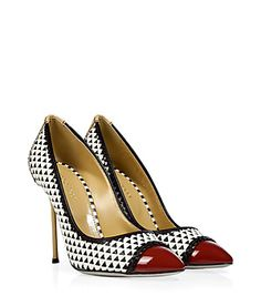 $570 With a cool colorblock and elegant look, Sergio Rossi's woven leather cap toe pumps are a sophisticated choice for finishing tailored workweek looks #Stylebop