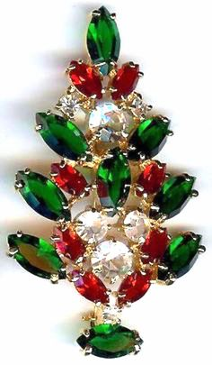 Merry Christmas vintage rhinestone brooch