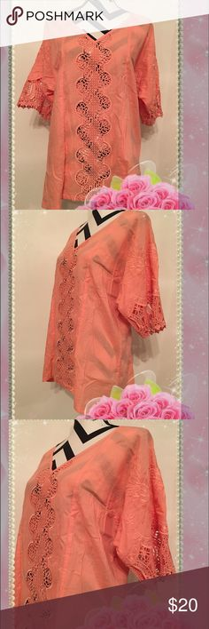 """Crochet Inserted Peach Color 3/4 Sleeve Tunic 🌺BUY 1 GET 1 FREE @ WHOLE CLOSET🌺  Crochet Inserted Peach Color 3/4 Sleeve Tunic  Size: M Material: 100% cotton  Lining: --- Lining Material: --- Shoulder: easy fit  Bust: 44"""" Waist: 40"""" Hips: --- Sleeve: 11"""" Length: 27""""-30"""" Condition: New without tag Tops Tunics"""