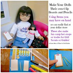 Doll Craft – Make Doll Sized Clip Boards and Pencils