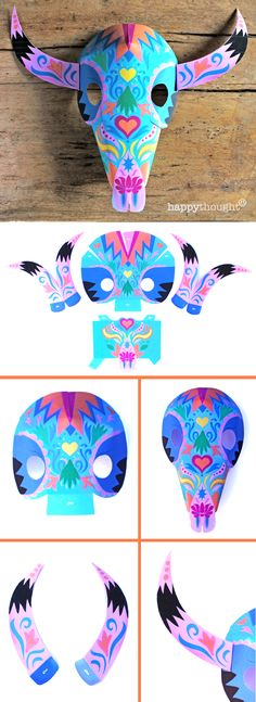 Make a fabulous Mexican Buffalo Calavera paper mask! https://happythought.co.uk/product/printable-calavera-skull-mask-set perfect mask for Day of the Dead El Dia de los Muertos mascara de calaca