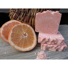 Sea Salt Pink Grapefruit Soap, Natural Soap, Spa Bar, Sea Salt Soap,... ($6.10) ❤ liked on Polyvore featuring beauty products, bath & body products and body cleansers
