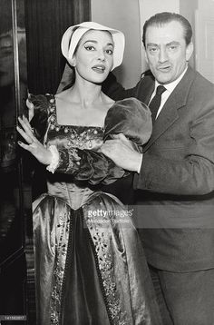 The singer <a gi-track='captionPersonalityLinkClicked' href=/galleries/search?phrase=Maria+Callas&family=editorial&specificpeople=121806 ng-click='$event.stopPropagation()'>Maria Callas</a> with the director <a gi-track='captionPersonalityLinkClicked' href=/galleries/search?phrase=Luchino+Visconti&family=editorial&specificpeople=903985 ng-click='$event.stopPropagation()'>Luchino Visconti</a>, during the rehearsals of 'Anna Bolena' of Donizetti, at the Teatro alla Scala. It is a repeat…