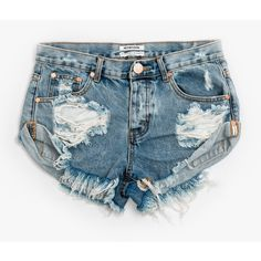 One Teaspoon Blue Malt Bandits ($72) ❤ liked on Polyvore featuring shorts, pants, distressed cut off shorts, distressed cut off denim shorts, one teaspoon, blue shorts and summer shorts