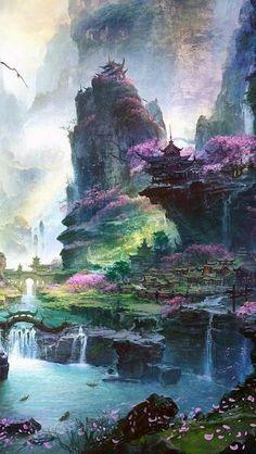 asia, river, temple