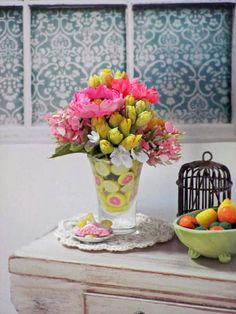 Summer Floral Bouquet in CITRUS Lined Glass Vase by OneSixthSense