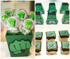 Doces decorados,. pirulitos de chocolate e caixinhas de tic tac para Hulk na festinha dos Vingadores - Miguel 03 anos