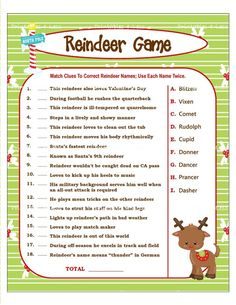 Printable Reindeer Games - they're like fun riddles...who ...