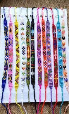 Glass Beaded Bracelet- Friendship Bands- Hand beaded-Best friend gift-Pattern Bracelet-Thin Bracelet-Tie on Bracelet-Bohemian Gift- Tribal Bracelet Friendship, Friendship Bracelets With Beads, Bead Loom Bracelets, Beaded Bracelet Patterns, Bead Loom Patterns, Woven Bracelets, Beading Patterns, Beaded Jewelry, Beading Tutorials