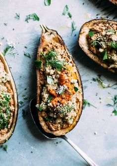Simple roasted and stuffed eggplant with a flavourful sunflower romesco sauce that tastes good on everything. Vegan, gluten-free, nut-free, and sugar-free.