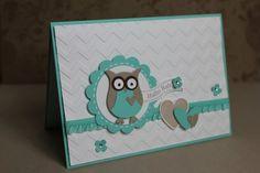 Babykarte mit der Eule in Jade, Bild1, gebastelt mit Produkten, Stanzen und Stempeln von Stampin' Up!