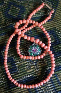 beautiful coral & suffragette pendant