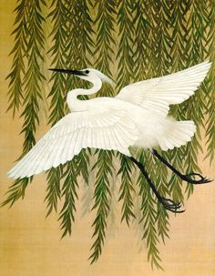 "Detail. ""White Heron and Willow"" or ""White Crane and Willow Tree"" folding screen. Suzuki Kiitsu,1796-1858. LACMA"