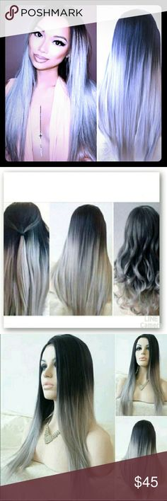 Long Straight Black Ombre Gray Full Wig Brand New in Packaging  As seen on Kylie Jenner. Other
