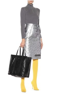 BALENCIAGA Embossed metallic leather skirt
