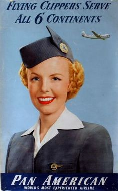 1950s A poster featuring a smiling Pan Am stewardess.
