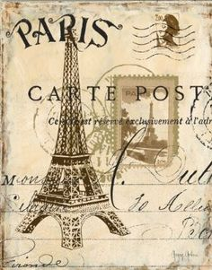 Amazon.com: From Paris With Love Eiffel Tower Stamp French Writing Photograph Painting Art Glicee Poster: Home & Kitchen