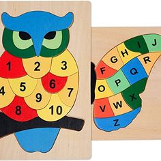 Bits and Pieces - Children's Educational Alphabet Puzzle Set- Counting Owl and Alphabet Butterfly - Colorful Wooden Kids Puzzles for Learning - Set of Two