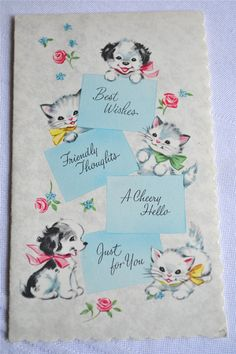 Vintage Birthday Card - Puppy and Kittens - Unused