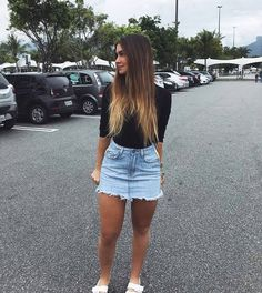 1 0 0 r i s a d i n h a a Jean Skirt Outfits, Cute Outfits With Jeans, Cute Summer Outfits, Outfits For Teens, Pretty Outfits, Spring Outfits, Casual Outfits, Girl Fashion, Fashion Outfits