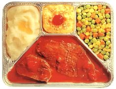I remember when these first came out - tv dinners - these were such a treat when we had them.  Ate them off of tray tables in the den - in front of the one TV set we had in the house!