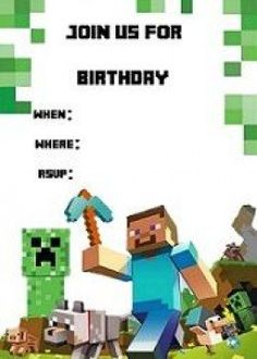 Minecraft invitation templates - Birthday Buzzin