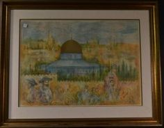"""HIBEL - Signed Limited Edition Lithograph. Synagogue. Size : 48"""" x 38"""""""