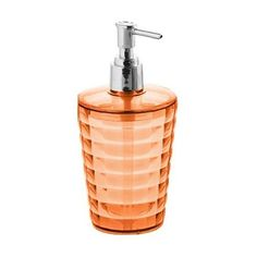 I pinned this Glady Soap Dispenser in Orange from the Color-Splashed Bath event at Joss and Main! Got to hand it to the Italians when it comes to colorful, stylish design. These bath products, which come in all colors of the rainbow and then some, are spot on trendy and fun. Matching towels and shower curtains compliment and complete the look for an easily updated bathroom.  And, I love that they sell sets of two bath mats - one for the shower and one for tub (think Master Bathroom).