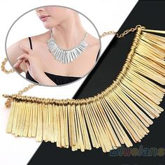 Gold Women Metal Multilayer Chain Tassel Necklace