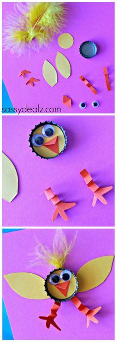 Bottle Cap Chick Craft for Kids! #Easter craft #DIY   CraftyMorning.com