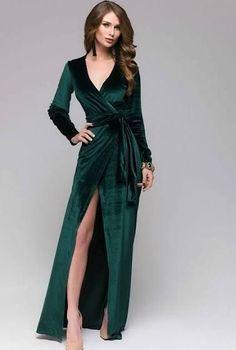 Classy Christmas Dresses For Perfect Look Wrap Dress Formal, Dress Long, Trendy Dresses, Nice Dresses, Dress Outfits, Fashion Dresses, Dress Clothes, Evening Dresses, Prom Dresses