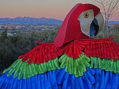 Parrot Mask and Wings: Materials:Industrial felt for wing base: 4 fabric for wings (I used a black silky polyester): 4 sparkly sheet foam: 3 pieces sparkly sheet foam: 3 pieces Red sparkly sheet foam: 3 piecesThick inch) industrial . Parrot, Wings, Fabric, Red, Pictures, Parrot Bird, Tejido, Photos, Tela