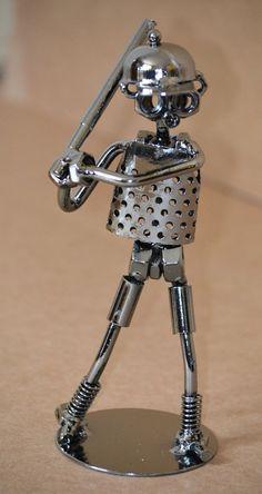 Metal Sculpture Baseball Player Handmade by MetalDecorative4You, $19.49