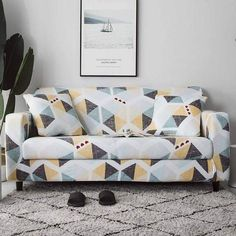 Geometric Loveseats Slipcovers - Sectional Elastic Stretch Sofa Cover for Living Room Couch Cover L shape Armchair Cover Single/Two/Three seat, Color 6 / Corner Sofa Covers, Couch Covers, Cushion Covers, Pillow Covers, Sofa Couch, Loveseat Slipcovers, Sofa Set, Plaid Sofa, Simple Sofa