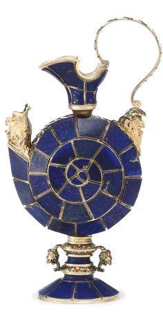 A Viennese silver-gilt, enamel and lapis lazuli ewer, probably Herman Ratzersdorfer, circa 1880 Nautilus, Cobalt Glass, Cobalt Blue, Lazuli, Objet D'art, Art Object, Oeuvre D'art, Antique Gold, Art Decor