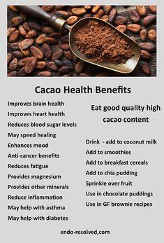 Cacao Health Benefits, Cacao Powder Benefits, Organic Food Benefits, Fruit Benefits, Holistic Nutrition, Health And Nutrition, Health And Wellness, Chocolate Benefits, Endometriosis Diet
