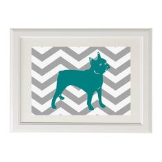 teal and yelow room | Grey and White Chevron with Teal Boston Terrier Art 8x10 Modern ...