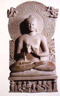 Seated Buddha preaching the first sermon, India, second half of Century, sandstone, Buddha, Harappan, 17th Century Art, Old Cemeteries, Angel Statues, Buddhist Art, British Museum, Metropolitan Museum, New Art