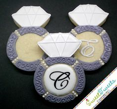 Wedding Ring Cookies~                by SweetTweetsOnline, $42.00, grey, white