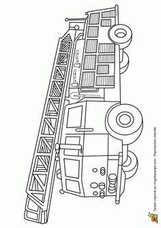 A colorier, un grand camion de pompier avec tous les matériels et la grande grue