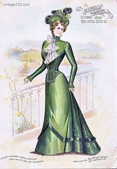 Hunter Green Gown, 1899 Ladies' Hunter Green Gown, Fashion plate taken from the October 1899 issue of McCall's magazine.Ladies' Hunter Green Gown, Fashion plate taken from the October 1899 issue of McCall's magazine. 1890s Fashion, Edwardian Fashion, Vintage Fashion, French Fashion, Vintage Beauty, Gothic Fashion, Historical Costume, Historical Clothing, Foto Transfer