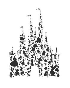 disney character silhouettes castle.. by studiomarshallarts, $3.50: