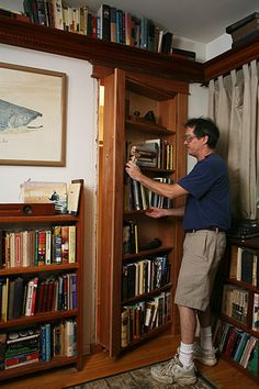 Someone pinned this, but the link is broken, so here's one that leads directly to the step-by-step directions to how to build this hidden door/ bookcase by Gary Katz Online, via thehomesteadsurvival.com
